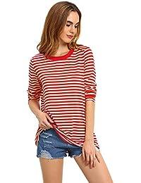 7cf40f777cd847 ROMWE Damen Ringel Langarmshirt Baumwoll Streifen Gestreift Hundhals Shirt  Top Rot L