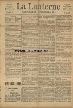 LANTERNE (LA) [No 104] du 27/06/1886 - UNE INCONSEQUENCE PAR DE BALZAC - BEAU PREMIER PAR O'MONROY - TRIBUNAUX COMIQUES PAR MOINAUX - LA CARTE A PAYER PAR FEBVRE - LE CASTELOU PAR LION - LA SANTE PUBLIQUE PAR MARC - FEUILLETON / LE MAITRE COQ PAR ROCHERY