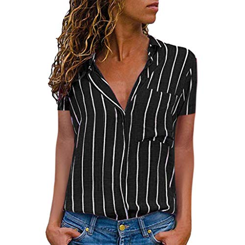 CUTUDE Damen T Shirt, Bluse Kurzarm Sommer Frauen Beiläufige Gestreifte Druck Kurzarm Hemd Bluse Button Down Tops (Schwarz, XX-Large)