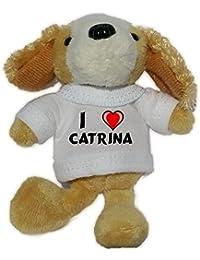 Perro de peluche (llavero) con Amo Catrina en la camiseta (nombre de pila/apellido/apodo)