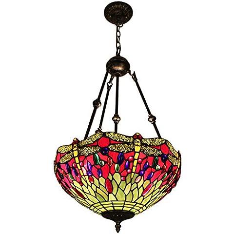 Gweat Tiffany 16 pollici dell'annata europea di stile di vetro macchiato Libellula E Perla rovesciato, serie della luce di soffitto della lampada di pendente Dining Room della luce