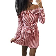 Kleid Damen Kolylong® Frauen Elegant Trägerloses Gestreift Kleid Langarm  Festlich Schulterfrei Kleid Kurz T- 7fa218841c