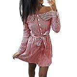 Kleid Damen Kolylong® Frauen Elegant Trägerloses Gestreift Kleid Langarm Festlich Schulterfrei Kleid Kurz T-Shirt Kleider Mini Rückenfrei Strandkleid Cocktail Party Abendkleid Top Shirt (XL, Rot)