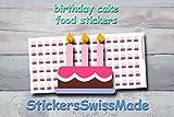 AUFKLEBER FÜR KALENDER || Geburtstagskuchen || Essen || kleine farbige Icons | für Kalender oder Bullet Journals