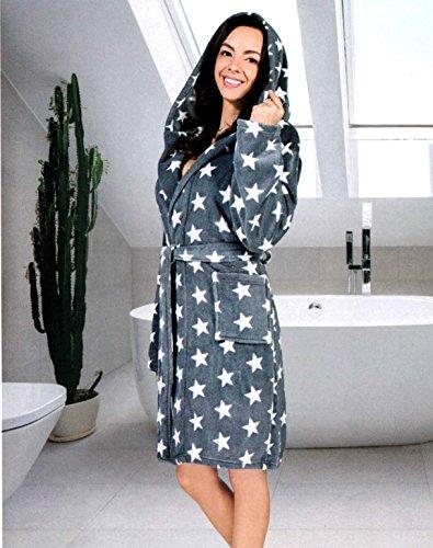 Damen Bademantel mit Sternen - in den Größen: S/M - L/XL - in den Farben: Anthrazit/Weiß, Weiß/Anthrazit und Grau/Türkis - von Brandsseller Anthrazit/Weiß