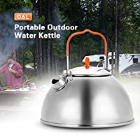 Docooler 0.6L Outdoor Camping Hiking Water Kettle Teapot Coffee Pot Portable Compact Ultralight Tea Pot Kettle with Tea Filter