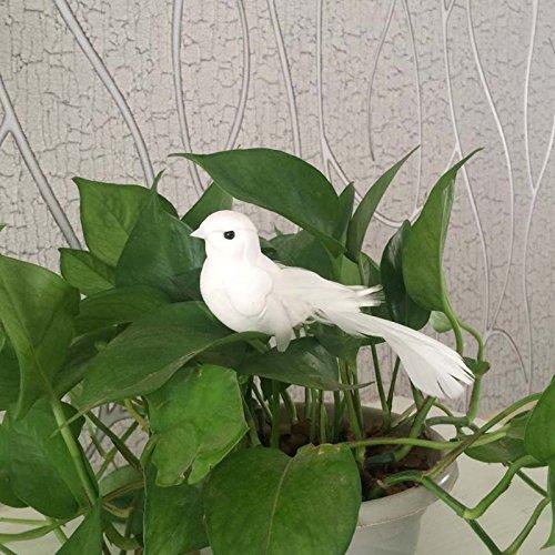 Yalulu 2 Stück 12*5*5CM Weiß Hochzeit Taubenpaar Künstlich Schaum Vögel Zuhause Ornaments Deko - 5