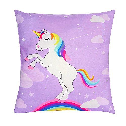 AerWo - Funda de almohada de unicornio estilo arcoíris para decoración de guardería, 45 x 45 cm Talla:2pcs