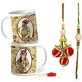 Tied Ribbons Rakhi Gifts For Bhabhi And Bhaiya Handmade Rakhi And Lumba For Bhaiya And Bhabhi With Set Of 2 Printed Coffee Mug, Roli Chawal - Rakhi Gifts For Brother And Bhabhi