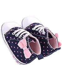 WAYLONGPLUS Infant Canvas Soft Sole Anti-Slip Prewalker Toddler Crib Shoes Love Print Sneaker (Pink Size 13)