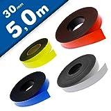 Nastro magnetico colorato, flessibile e fortemente magnetizzato - 0,85mm x 30mm x 5m - per etichettare, evidenziare e contrassegnare, Colore:bianco