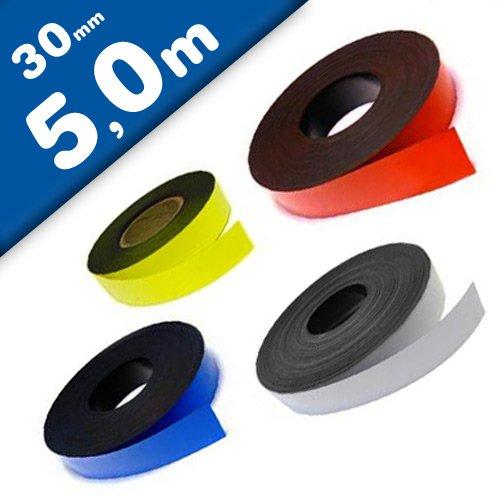 nungsband farbig, Breite 30mm - 5m Rolle - Magnetstreifen - Zum Beschriften und Markieren, von Lager, Werkstatt, für Whiteboards, Flipcharts, Präsentationen, Farbe:gelb ()