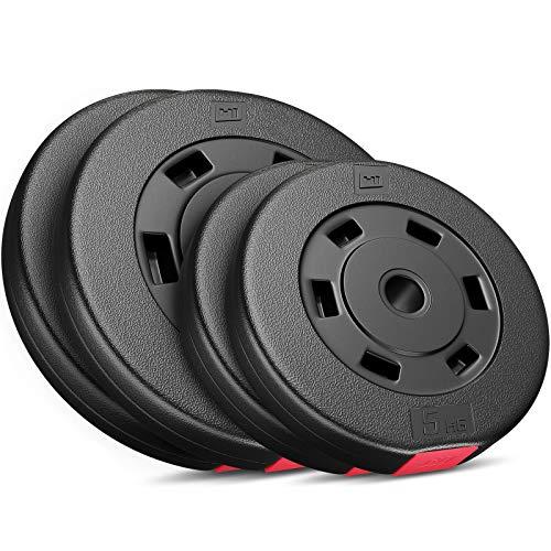 Hop-Sport Hantelscheiben 5, 10, 20, 30 kg Kunststoff Gewichte Hanteln Set Gewichtsscheiben (2 x 5 kg + 2 x 10 kg)