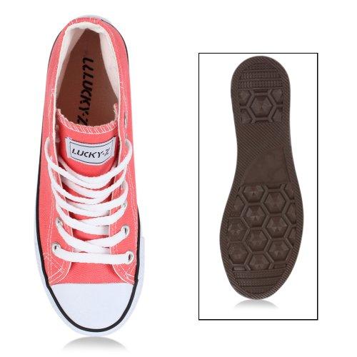 Sportliche Damen Sneakers |Stoffschuhe Camouflage Schnürer | Sneaker High Neon | Sportschuhe Coral