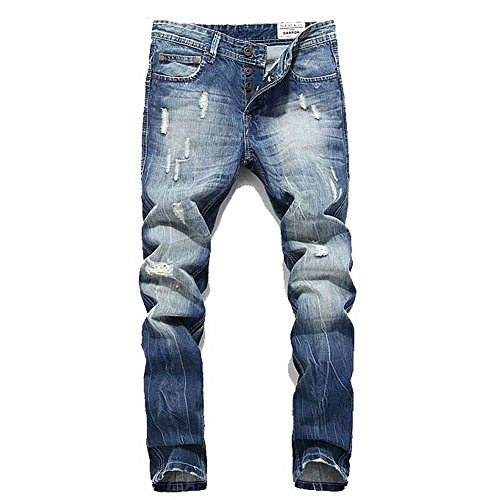BicRad Herren Regular Fit Jeans Denim Used Look Straight Jeanshose (29 (Taille: 74CM / Länge: 104CM), Hell Denim Blau) (Jeans Herren Taille 29)
