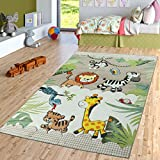 TT Home kinderkamer tapijt jungle dierentuin dieren zebra tijger leeuw AFFE beige crème