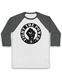 Inspired Apparel Inspire par Public Enemy Fight The Power Officieux 3/4 Manches Retro T-Shirt de Base-Ball