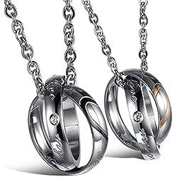Collar de pareja - TOOGOO(R) 2 pzs Cadenas de amistad de joyeria colgante de parejas de acero anillos del corazon con 45 cm y 50 cm cadena, collar para hombres y mujeres, Negro Plata + Plata Oro