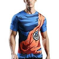 Sibaway T-Shirt de Compression DBZ Manches Courtes | T-Shirt 3D Goku Sport Musculation Fitness | Vêtement Cross FIT Workout
