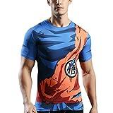 Sibaway T-Shirt Manches Courtes de Compression Manga DBZ| Tshirt 3D Goku Sport Musculation Fitness | Vêtement Cross Fit Workout (M)