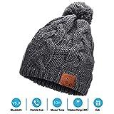 Neraon Bluetooth 5.0 Wireless Bluetooth Beanie Hüte mit Abnehmbaren HD Stereo Lautsprecher & Mic, Pom Pom Beanie Musik Hüte für Frauen (Grau)…