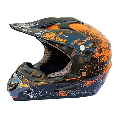 WY-Hard hat Casco da Cross Motocross off Road Casco da Moto Dirt Bike Dual Sport Endurance Race/Multicolor Occhiali/Maschera/Guanti da Corsa, S, M, L, XL