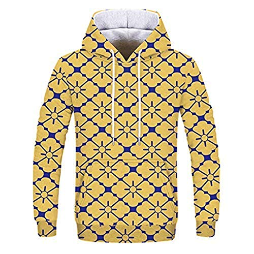 Preisvergleich Produktbild Sweatshirt Mit HoodieMänner 3D Sweatshirt Digital Vortex Printed Langarm T-Shirt üBersteigt Blusen Langarm Slim Drawstring Taschen Long Sleeve Sweatshirt(L, Gelb*BM)