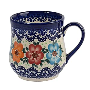 Traditional Polish Pottery, Handcrafted Ceramic Drop-shaped Mug (350 ml /12.3 fl oz), Boleslawiec Style Pattern, Q.102.BLUELACE