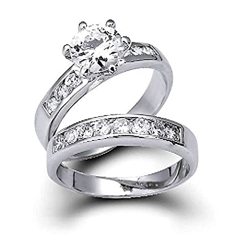 Silver Vintage Style CZ Engagement Wedding Ring Set 1.5ct