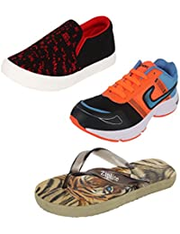 Bersache Men Combo Pack Of 3 Loafers & Moccasins With Sports Shoes & Flip-Flops