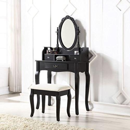 Schwarz Schminktisch-Set Antik-Stil Gepolsterte Kommode Hocker Oval Spiegel Schubladen