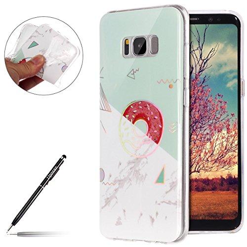 Uposao Kompatibel mit Handyhülle Marmor Galaxy S8 Schutzhülle Weich Silikon Hülle Glitzer Marmor Muster Silikon Transparent Tasche Handytasche Durchsichtige Dünne HandyHülle TPU Bumper,Weiß Grün