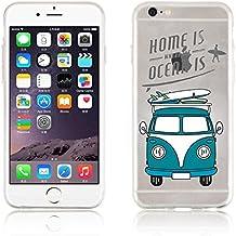 "JAMMYLIZARD | Carcasa Para [ iPhone 6 Plus / 6s Plus 5.5"" ] Transparente De Silicona Sketch Back Cover, VW SURF VAN"