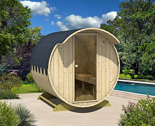 FinnTherm Fass-Sauna Tom, unbehandelt/Natur, inkl. Holz-Ofen (18 kW)