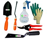"Easy Gardening - Essential tools - Trowel Big, Weeder, 2"" Khurpi, Trigger Sprayer, Knit Gloves & Pruning secateur"