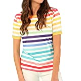 ESAILQ Damen Rundhals Kurzarm T-Shirt Tops mit Allover Anker Print Frauen Casual Druck T-Shirt(L,Mehrfarbig)