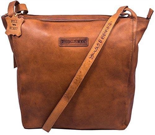Hill Burry Damen Shopper | aus weichem hochwertigem Leder - Elegante Fashion Bag Beutel / Umhängetaschen Schulterbeutel Abendtasche (Braun) Braun