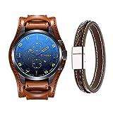 Montre pour homme Mode militaire classique bracelet cuir montre, calendrier, affichage de la date (Jaune)