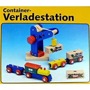 Holzeisenbahn Zubehör Set Holz Container-Verladestation Holzspielzeug