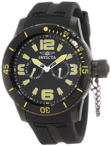 Invicta Men's Specialty 48mm Black Polyurethane Band IP Steel Case Flame-Fusion Crystal Quartz Watch 1796
