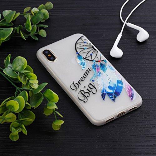 inShang iPhone X 5.8 inch Custodia [Trasparente cover iPhone X 5.8 inch] [luminoso nel buio], comoda Cover posteriore di case di stile di protezione Alphabet Monternet