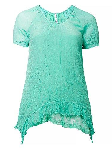 sheego Style Donne Tunica in tessuto crinkle taglie grandi verde