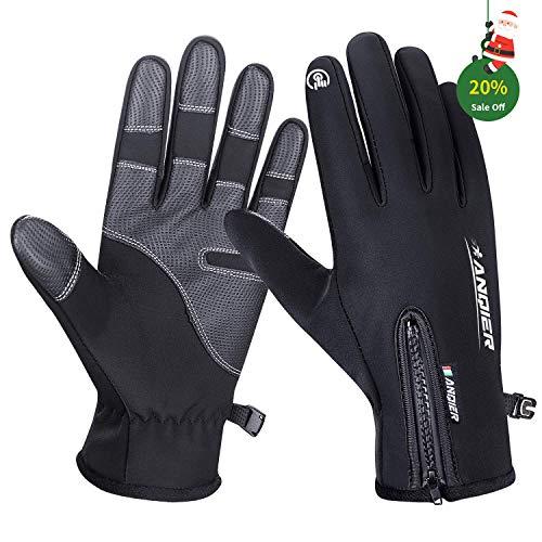 Lapulas Fahrradhandschuhe Damen Herren Handschuhe Winter Wasserdicht Touchscreen Winddicht Radfahren Fahren Bergsteigen Schwarz (Schwarz, M)