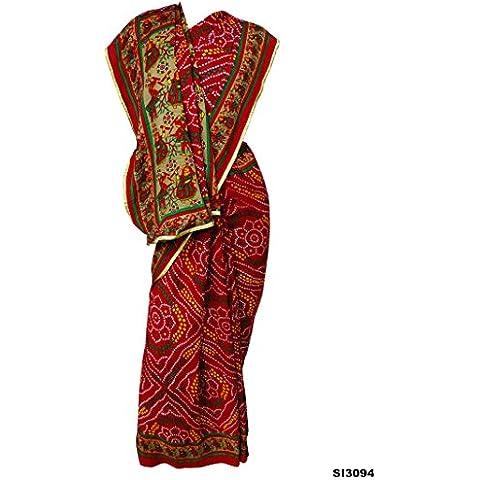 Nueva étnico Mujeres Sari musgo Crepe Tela Roja de la India Partido Vestidos de novia sari 5 Yard