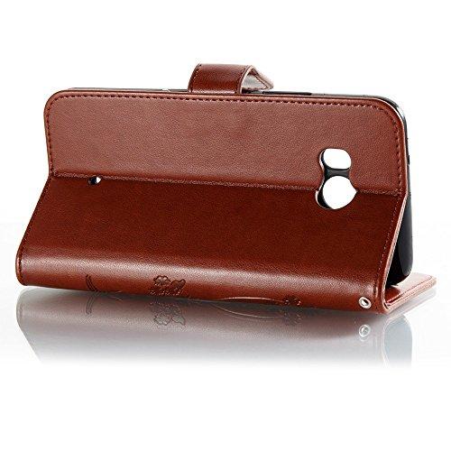 EKINHUI Case Cover Horizontale Folio Flip Stand Muster PU Leder Geldbörse Tasche Tasche mit geprägten Blumen & Lanyard & Card Slots für HTC U11 ( Color : Black ) Brown