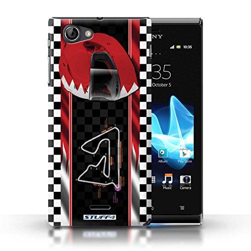 Kobalt® Imprimé Etui / Coque pour Sony Xperia J (ST26i) / USA/Austin conception / Série F1 Piste Drapeau Bahreïn/Sakhir