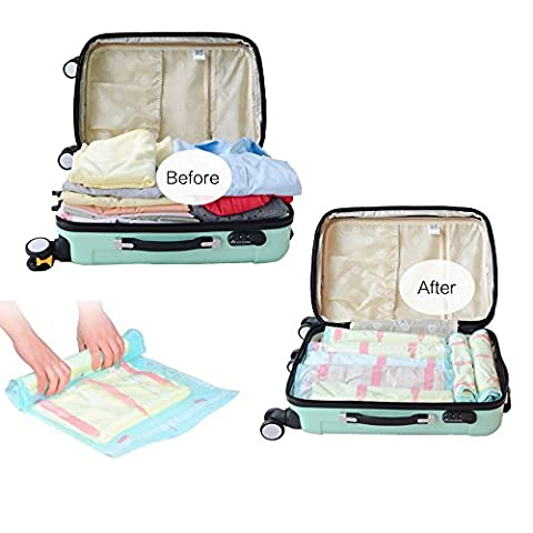 12 Packs Newest Style Space Saver Bags, Compression Storage & Packing Organizer Bags, Roll-Up Compression (No Vacuum Needed) Zipper Space Bag, Perfect Bags for Travel, Work and Home Storage Organization, Lighter and Softer, PREMIUM QUALITY (12