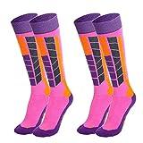 WolinTek 2 Pacchi Calze da Sci Termiche da Donne per Lo Sci, Escursioni in Montagna,Calze da Sci Donna Sport Invernati (Formato: 35-38) - Rosa