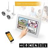 HaWoTEC 9' Touchscreen Monitor mit Lautsprecher HD Funk Überwachungssystem Digital Videoüberwachung System Echtzeit inkl. 500GB Festplatte 2 HD Funkkamera mit Mikrofon IR Nachtsicht