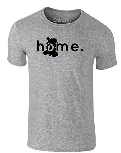 Brand88 - Home: Wales, Erwachsene Gedrucktes T-Shirt Grau/Schwarz